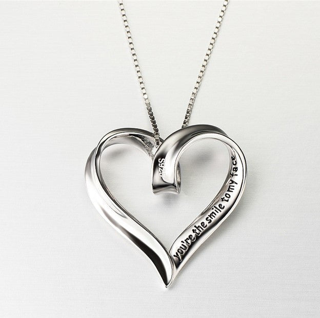 "925 Sterling Silver  Heart Shaped ""Smile"" Stamped Pendant Necklace"