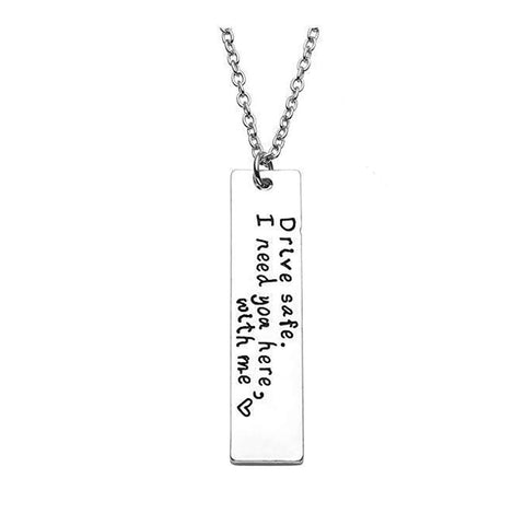 Drive Safe Stainless Steel Necklace