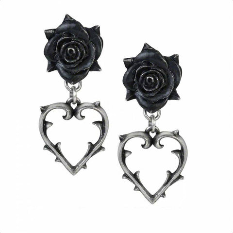Foliate Hollow Heart and Black Pewter Rose Drop Earrings