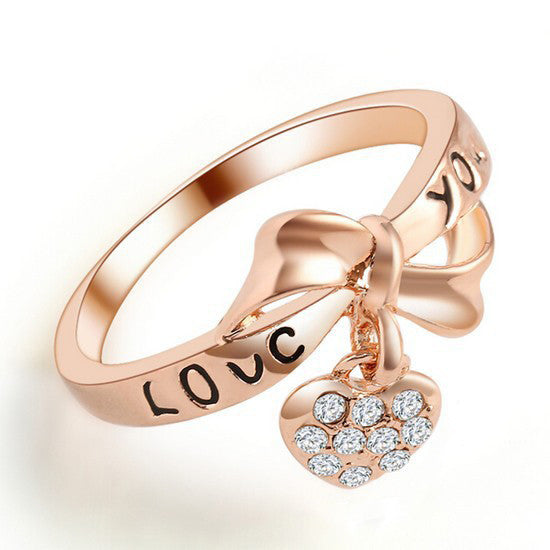 Bowknot And Crystal Heart Women's Ring