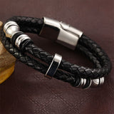Genuine Leather Magnetic Titanium Steel Men's Bracelet