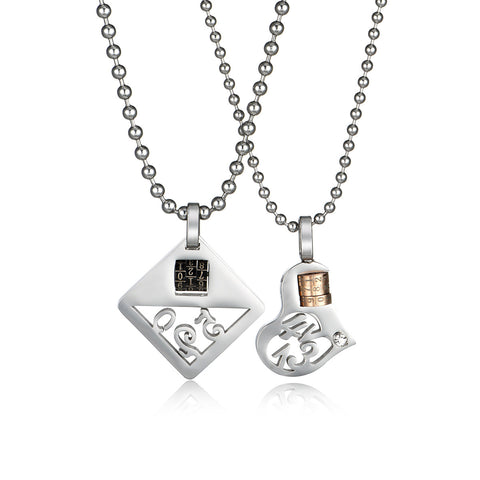 Heart & Diamond Hollowed Titanium Steel Couple Necklaces