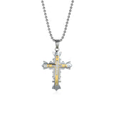 Crystal Cross Titanium Steel Men's Necklace
