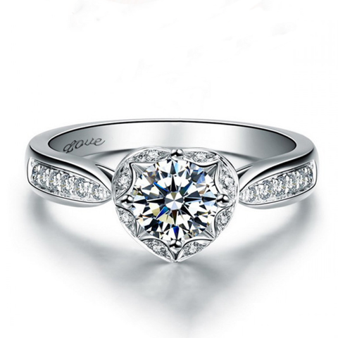 1 carat Round Cut Zircon Sliver Wedding Ring