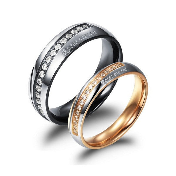 titanium-steel-lover-rings-with-cubic-zirconia-inlaid-price-for-a-pair