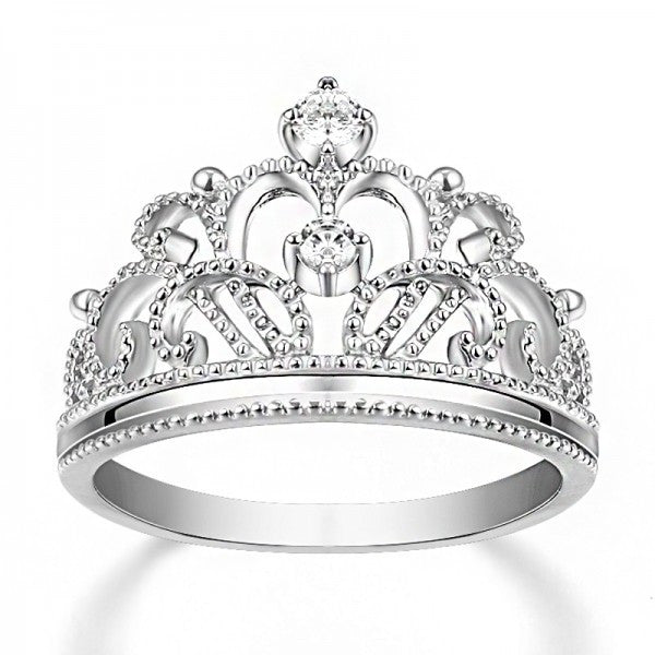 elegant 925 sterling silver diamond crown womens engagement ring - Crown Wedding Rings