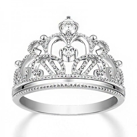 Elegant 925 Sterling Silver Diamond Crown Women's Engagement Ring