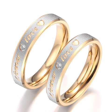 Personalized Forever Love Titanium Steel Cubic Zirconia Couple Rings