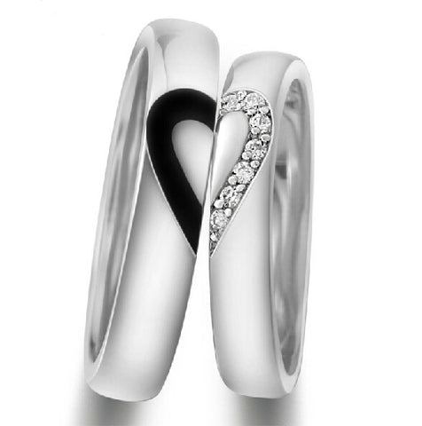 925 Sterling Silver Lover's Matching Heart Couple Rings