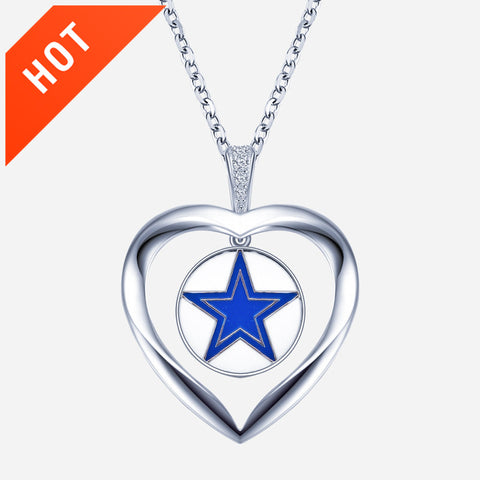 Heart Shape Cowboy 925 Sterling Silver Men Or Women's Unisex Necklace
