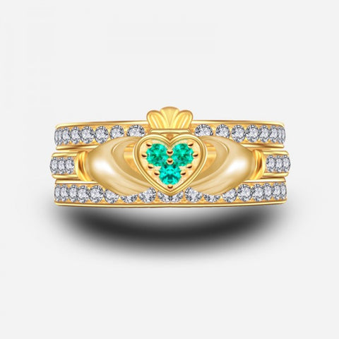 Green Emerald Three-Piece Claddagh Ring Set