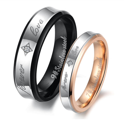 Personalized Forever Love Stars Titanium Couple Rings