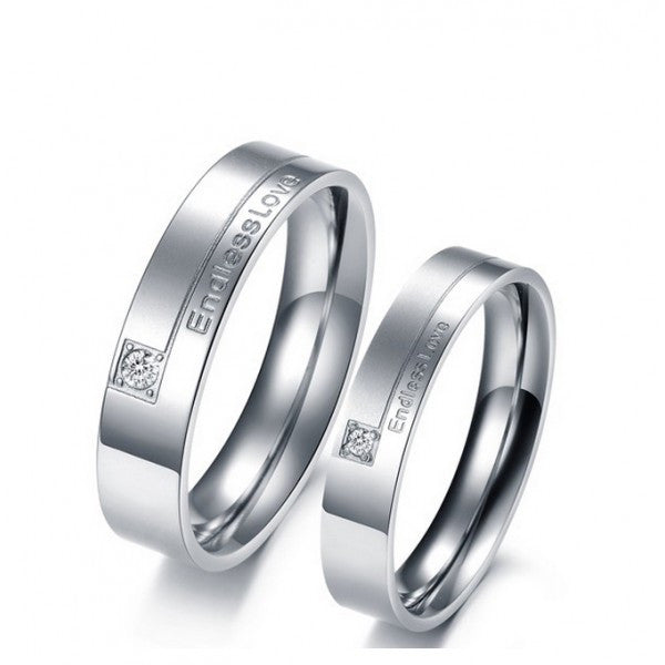Titanium Endless love CZ Inlaid Lover Ring (Price For A Pair)