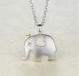 Women's Pendant Necklace Daily Elephant Crown 925 Sterling Silver Silver