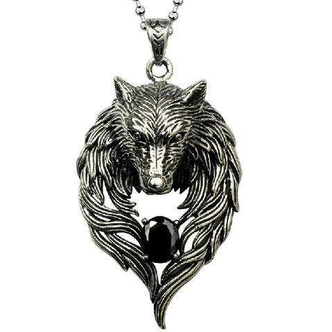 Men's Necklace Daily Wolf Titanium Steel Silver