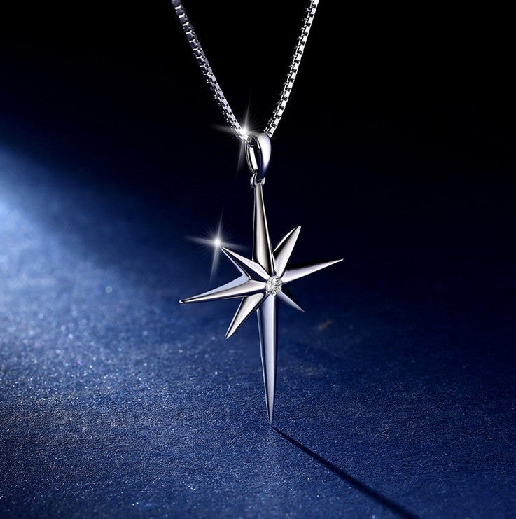 Amazing 925 Sterling Silver Crystal Star Fashion Necklace For Women
