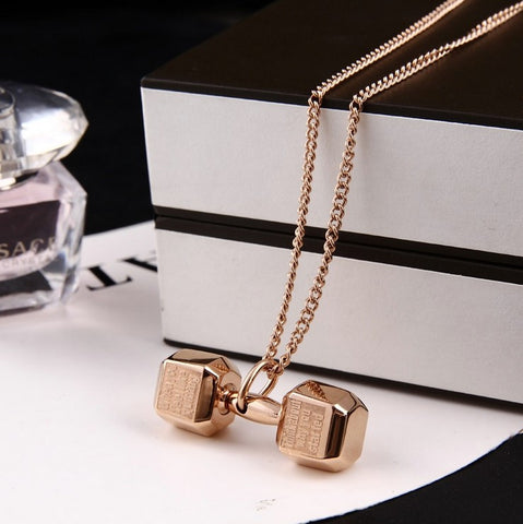 Hyperbolic Titanium Exercise Dumbbell Fashion Necklace For Women And Men