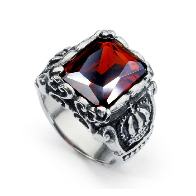 Ruby Ring Titanium Steel Band For Men Evermarker