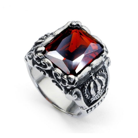 Ruby Ring Titanium Steel Band For Men