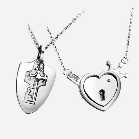Heart-shaped Lock And Key Couple Pendant Necklaces