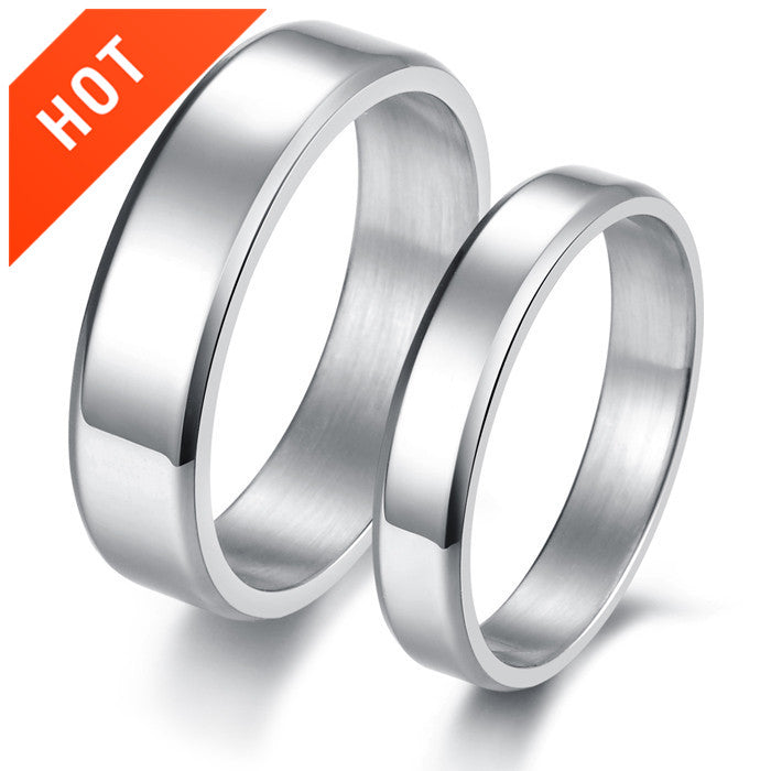 Concise Style Titanium Steel Lover Couple Rings Bands