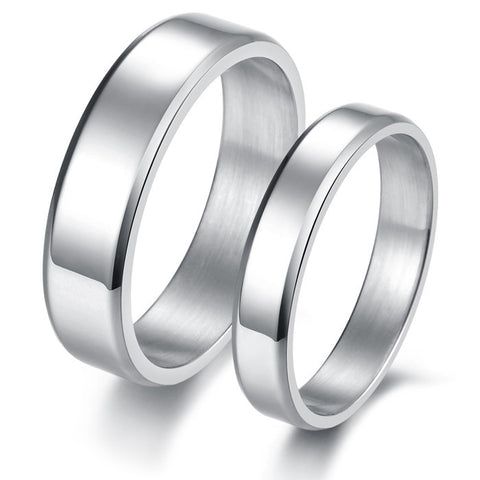 Personalized Concise Style Titanium Steel Lover Couple Rings Bands