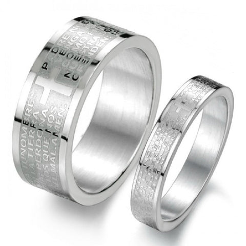 Personalized Bible Love Titanium Steel Wedding Band For Couples