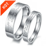 "Personalized ""Two Shall Be As One"" Titanium Steel Lover Rings"
