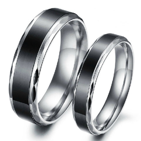 Personalized Black & Silver Edge Titanium Couple Rings