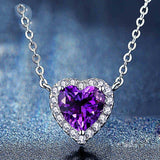 Romantic 925 Sterling Silver Purple Crystal Heart-shaped Necklace