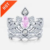 Crown-shaped Pink Diamond Engagement Ring