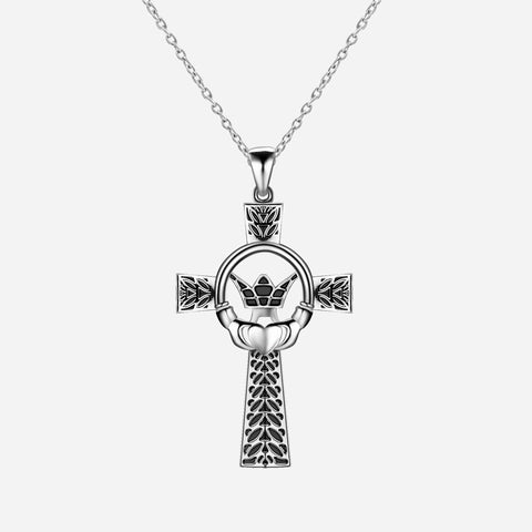 Retro Style Claddagh Element 925 Sterling Silver Cross Necklace