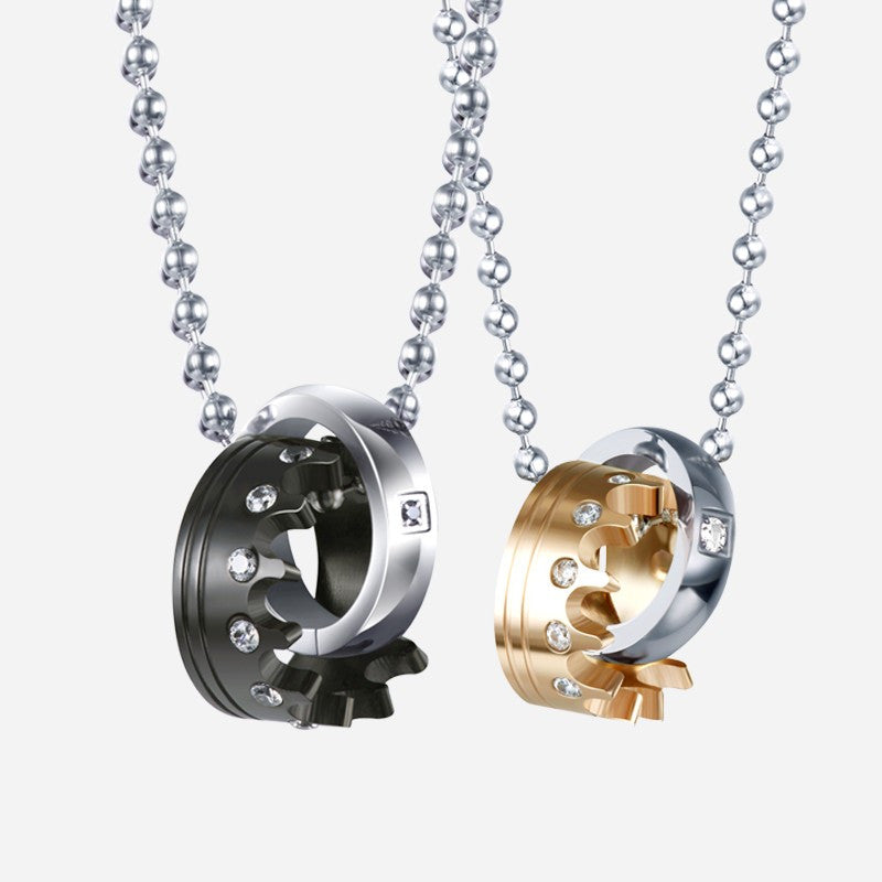 93a48faa38 Crown Titanium Crystal Lover's Couple Necklaces. $279.80 $39.95. Brand  EverMarker
