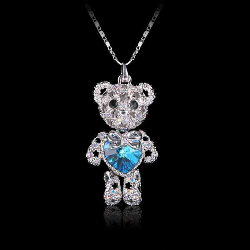Crystal Pave Bear Heart Zircon Women Pendant Necklace