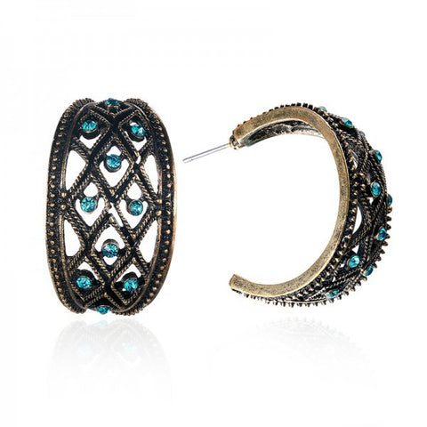 Retro Arc Blue Diamond Women Hoop Earrings