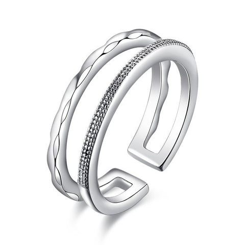 Platinum Plated Bilayer Women MIDI Ring