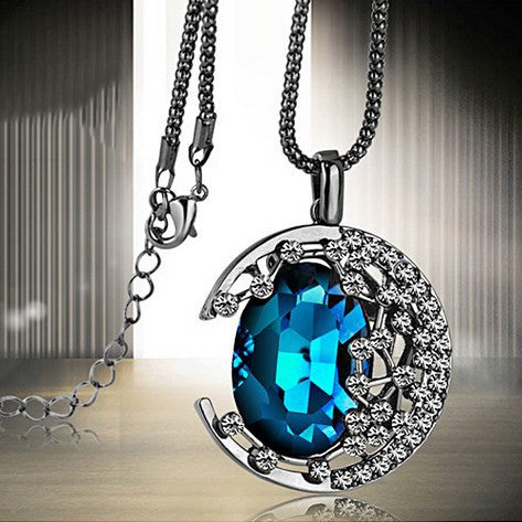 Crystal Moon Diamond Women Sweater Necklace