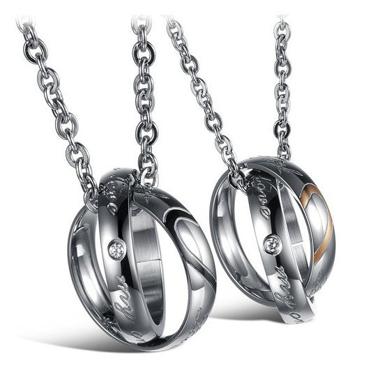 Lovers Combination Rings Titanium Steel Couple Necklaces