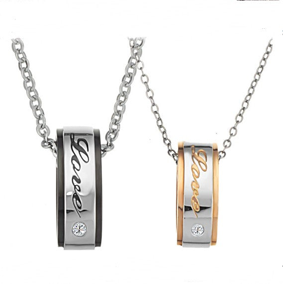 Engravable Titanium Steel Lover Necklaces For Couples(Price For A Pair)