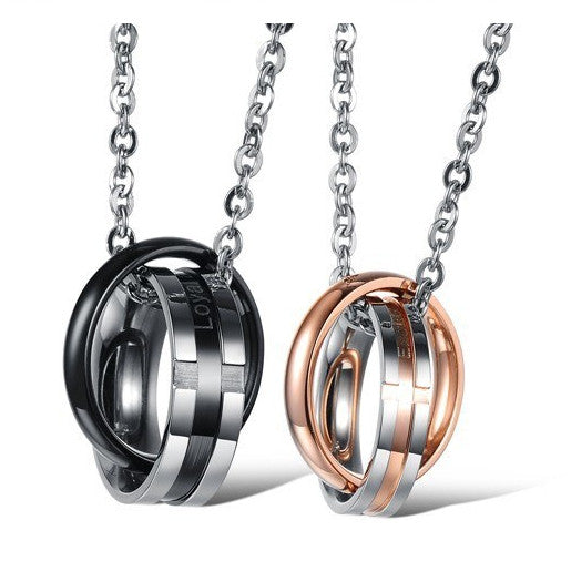 Wonderful Life For Happy Lovers Titanium Steel Pendant Engraved (Price For A Pair)