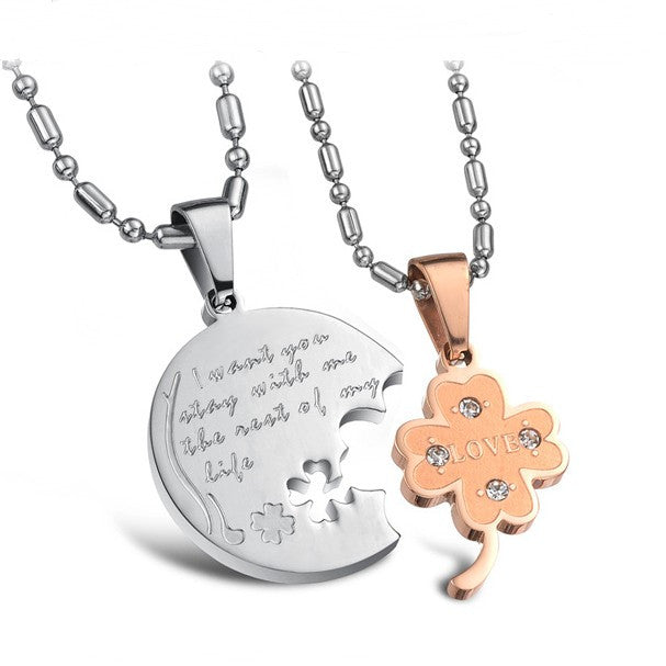 four-leaf-clover-matching-lovers-necklaces-titanium-steel-necklace-for-couples-engravable-price-for-a-pair