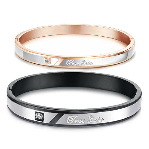 Personalized Black-Rose Couple Bangles Bracelets