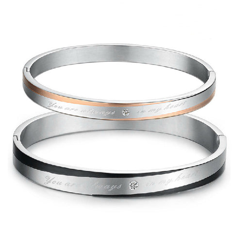 Couple Bangles Bracelets Daily True Love Stainless Steel Silver