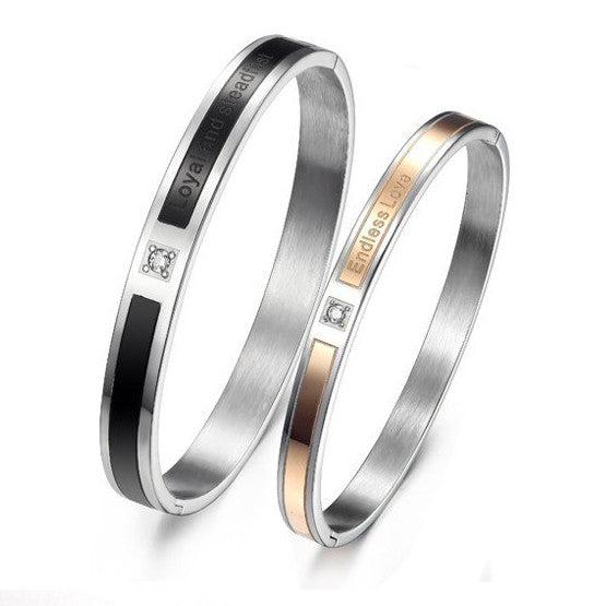 Couple Bangles Daily Simple Stainless Steel Black-Rose Bracelets