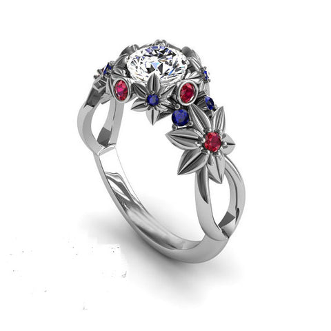 Inspired Floral Bridal 925 Sterling Silver Engagement Ring