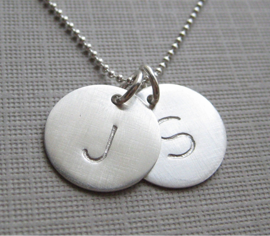 Personalized Charm Handstamped Personalized Sterling Silver Necklace
