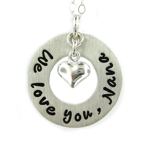 Personalized Heart-shaped Sterling Silver Silver Women's Pendant Necklace