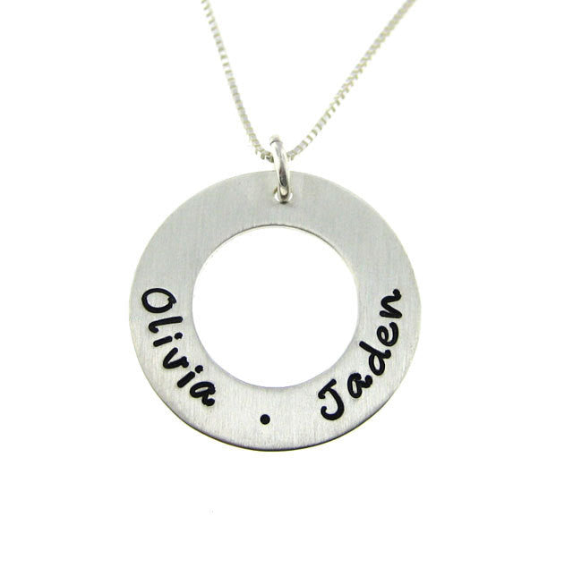 Personalized Sterling Silver Silver Women's Pendant Necklace Circle Of Love