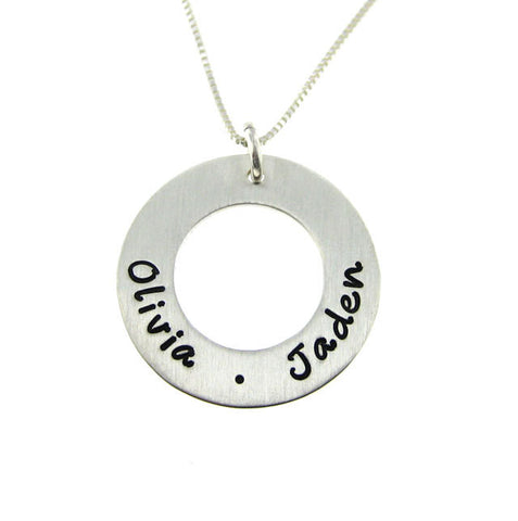 Women's Pendant Necklace Daily Circle Of Love Personalized Sterling Silver Silver