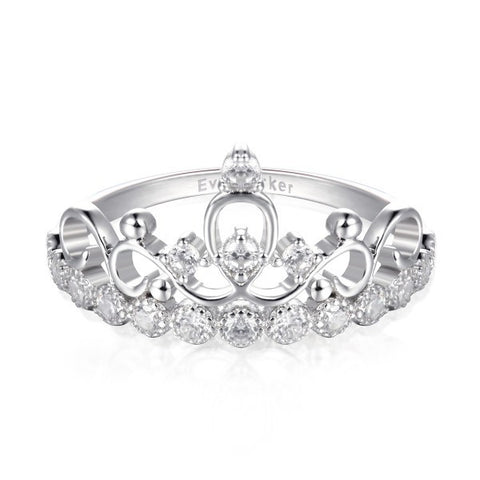 925 Sterling Silver Crown CZ Inlaid Ring